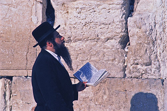 Hasidic jew praying at the western wall in jerusalem