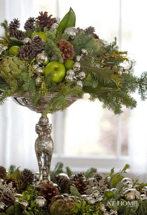 Fresh pine centerpiece for holiday family