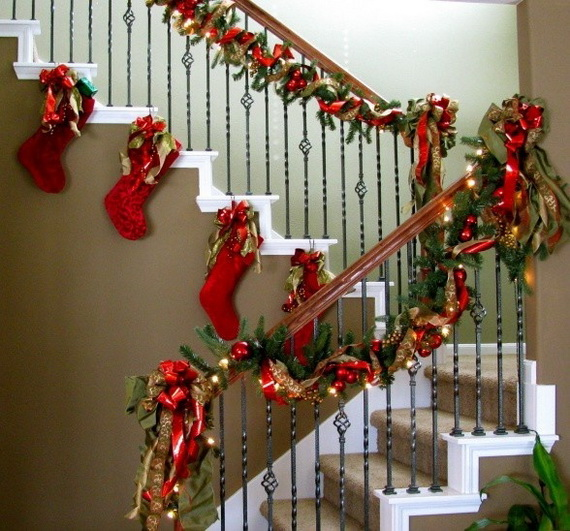 100 Awesome Christmas Stairs Decoration Ideas: Hanging Christmas Stockings For Holidays
