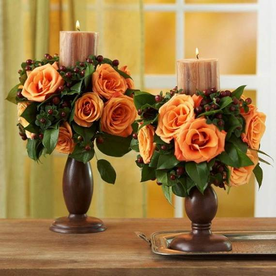 Thanksgiving candle centerpiece idea family holiday