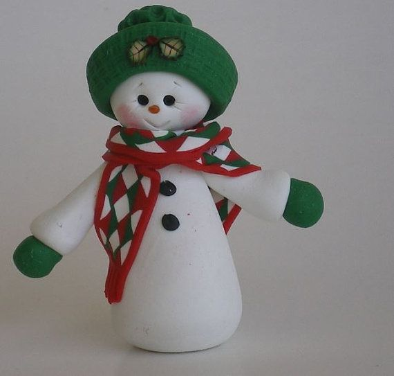 Polymer Clay Snowman for   Christmas Holiday_01