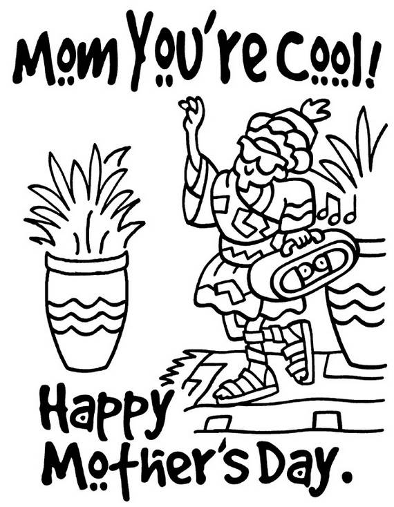 Happy Mothers Day Coloring Pages for Kids  family holidaynet
