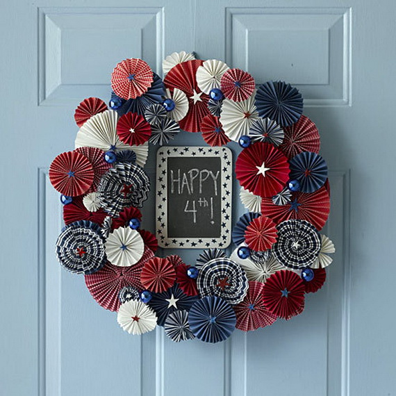 30 Patriotic Home Decoration Ideas In White Blue And Red: Wreath USA 4th Of July Day And Other Patriotic Door
