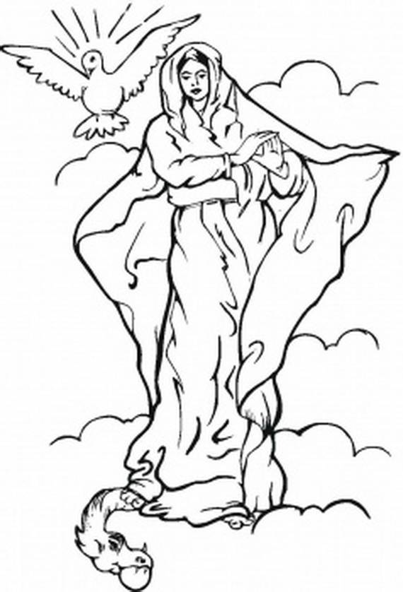 The assumption of blessed virgin mary glorious mysteries for Hail mary coloring pages