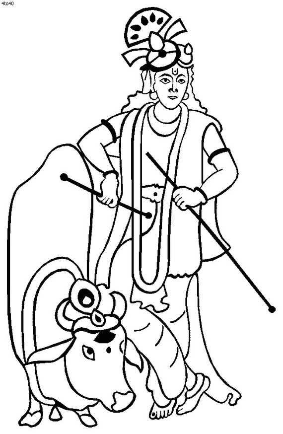 lord krishna coloring pages - lord krishna pencil coloring coloring pages