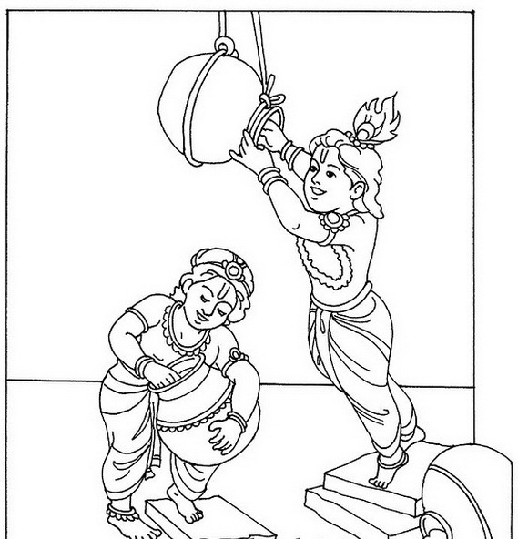 krishna pages for coloring - photo#33
