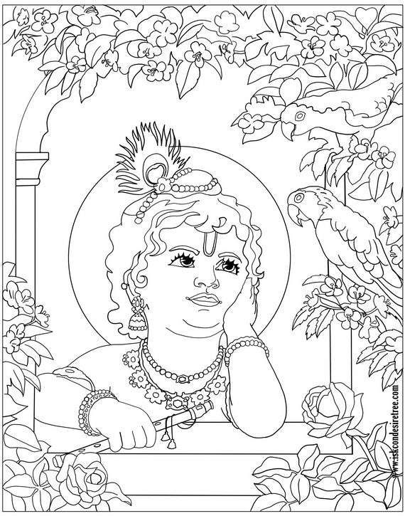 krishna pages for coloring - photo#10