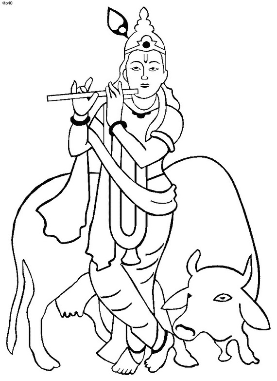 Line Art Krishna : Shri krishna janmashtami coloring printable pages for kids