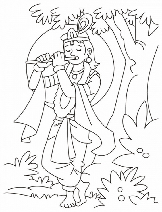 krishna pages for coloring - photo#5