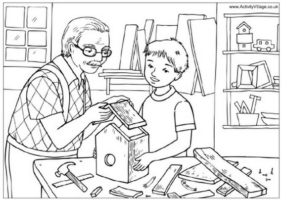 Grandparents Day Coloring Pages to Print and Color - family holiday ...