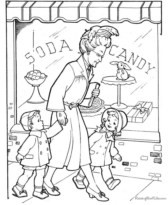 coloring pages shopping - photo#27