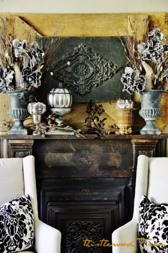 50 great halloween fireplace mantel decorating ideas - Halloween Mantel