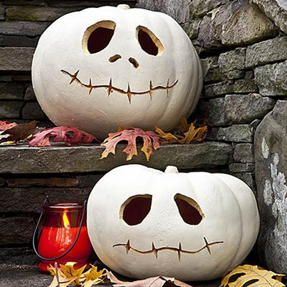 Easy halloween craft ideas for kids family White pumpkin carving ideas