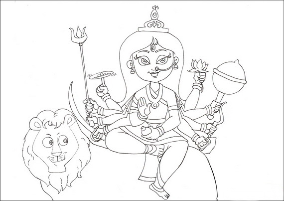 navratri and dussehra festival coloring pages