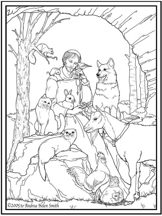 St Francis Of Assisi Coloring Pages For Catholic Kids St Coloring Pages