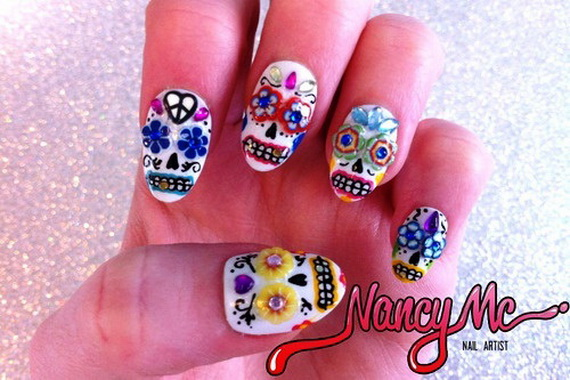 Beautiful Day Of The Dead Nail Art Designs Family Holiday