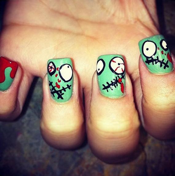 50 Simple Easy Spooky Scary Halloween Nail Art Designs Ideas 2012