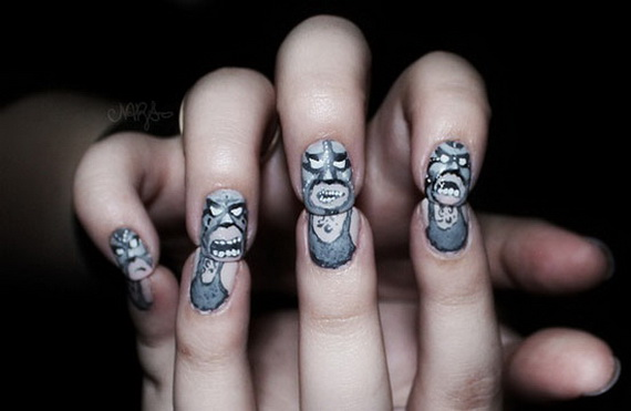 50 Simple Easy Spooky Scary Halloween Nail Art Designs Ideas