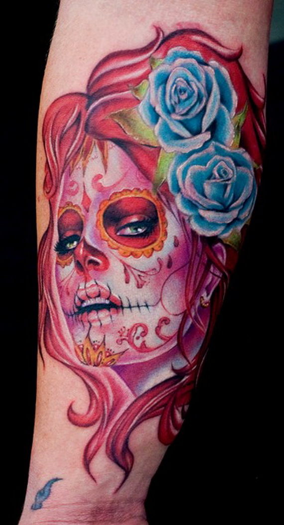 sugar skull tattoos for halloween day of the dead family to family holidays. Black Bedroom Furniture Sets. Home Design Ideas