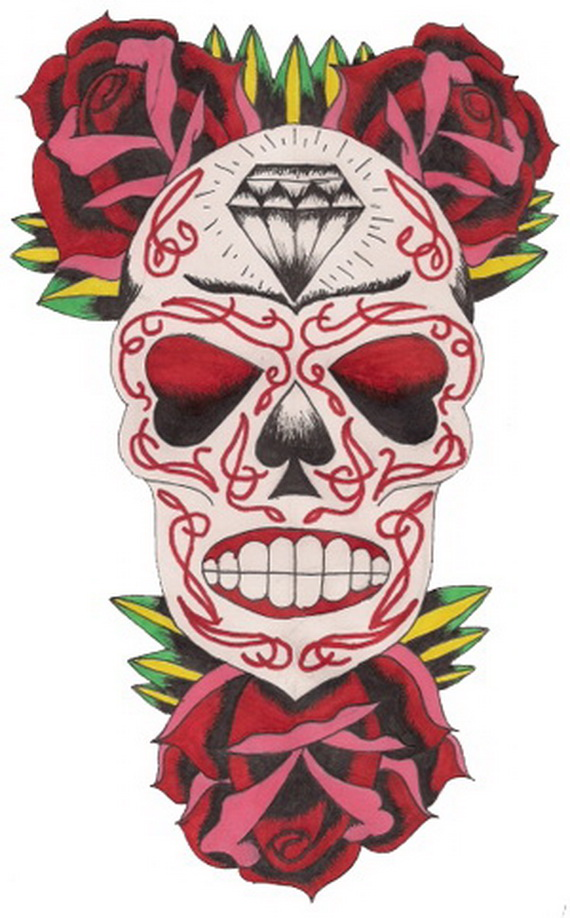 29c02d296 Sugar Skull Tattoos for Halloween /Day of the Dead - family holiday ...