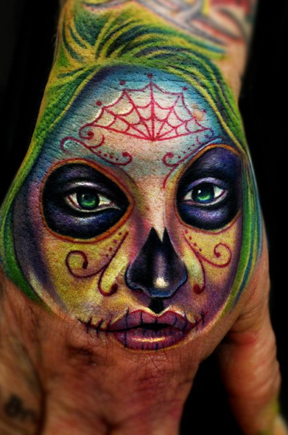 Mexican Day Of The Dead Skull Tattoo Designs
