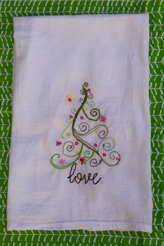christmas holly handmade tea towel