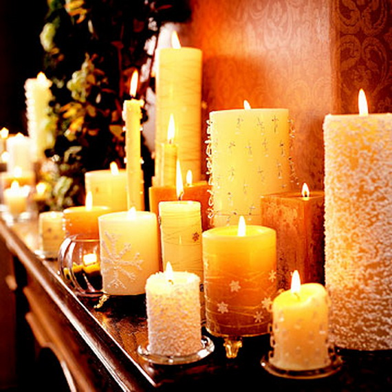Decorate a mantel with holiday centerpiece family