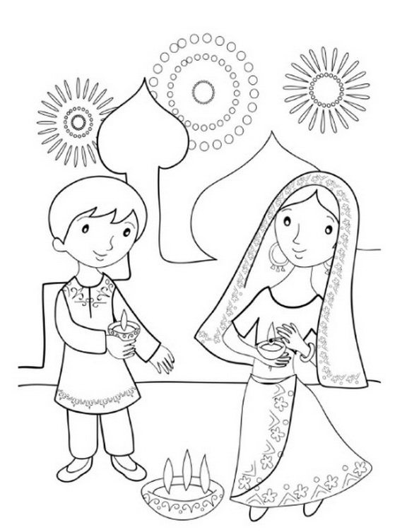 Deepavali festival free colouring pages for Diwali coloring pages