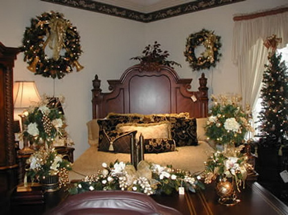 Elegant interior theme christmas bedroom decorating ideas for Christmas room ideas