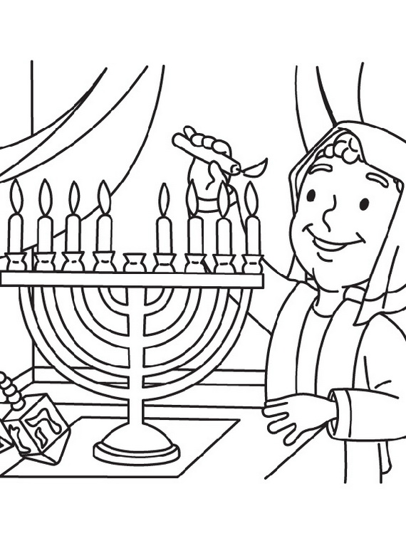 Hanukkah coloring pages menorahs family for Jewish symbols coloring pages