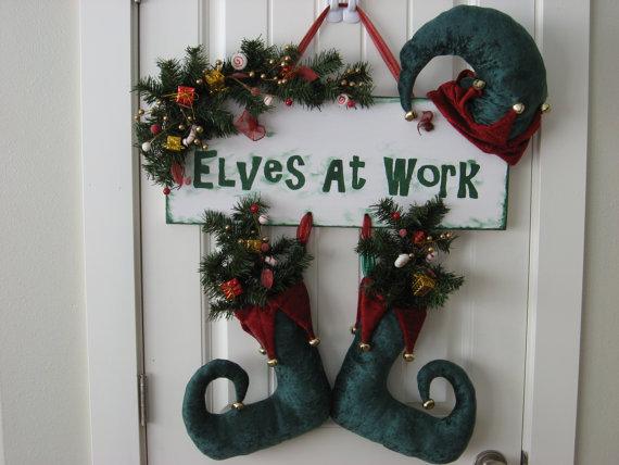 Homemade christmas door hanger decoration ideas family for Elf door ideas