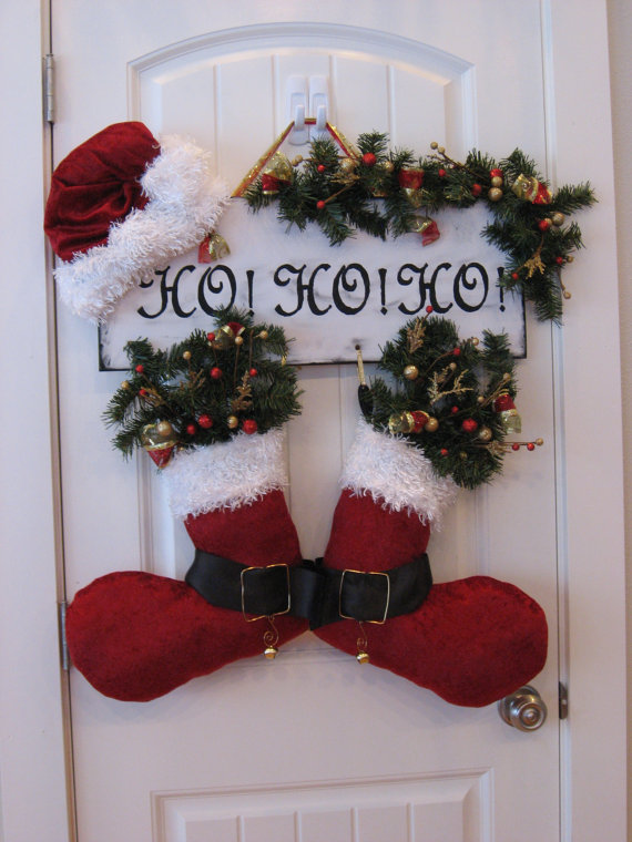 Homemade christmas door hanger decoration ideas for Homemade christmas decorations