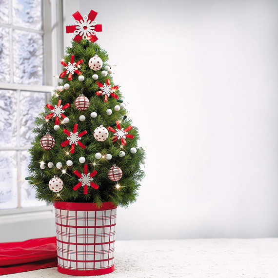 Christmas Tree Simple Decorating Ideas: Miniature Tabletop Christmas Tree Decorating Ideas