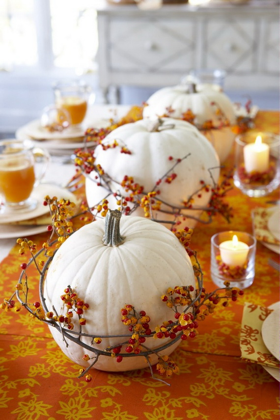 Thanksgiving & Fall Autumn White Pumpkin Centerpiece And