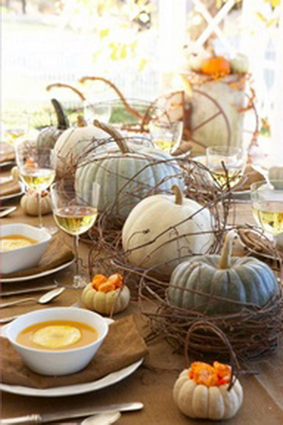 Thanksgiving fall autumn white pumpkin centerpiece and Thanksgiving decorating ideas
