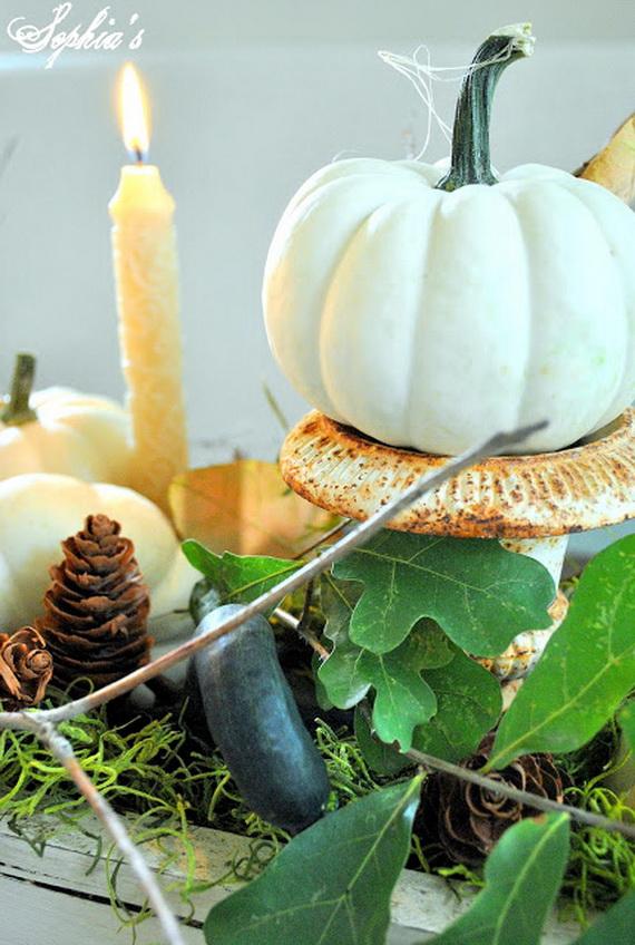 Thanksgiving fall autumn white pumpkin centerpiece and