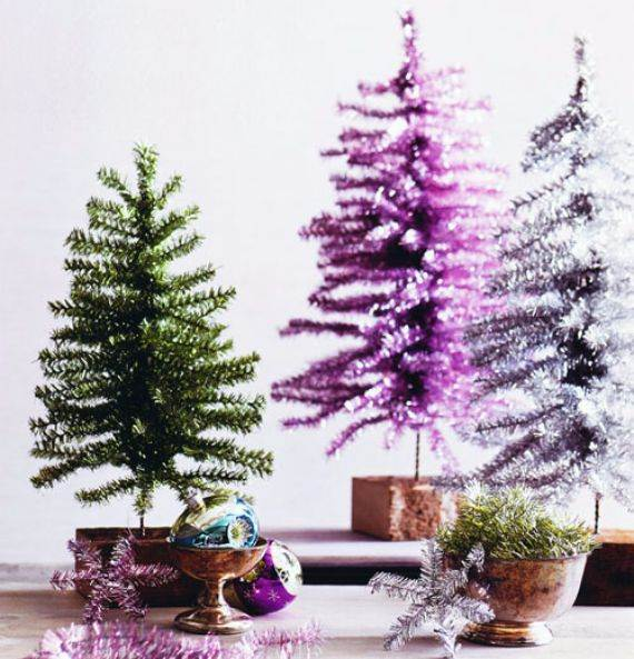 tinsel small tabletop christmas tree - Small Decorated Christmas Trees