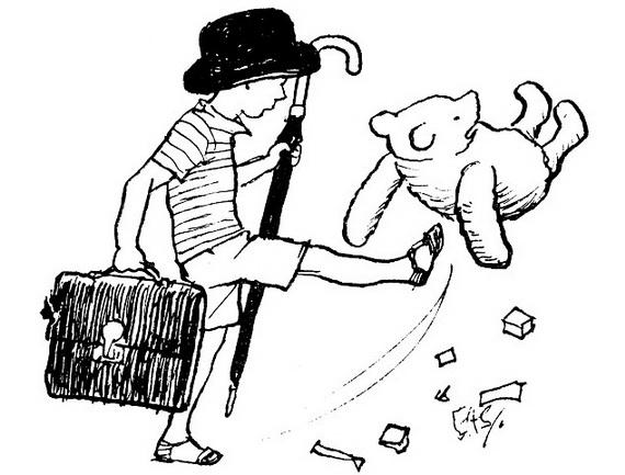 (A little boy dressed as a businessman, kicks a teddy bear up the backside)