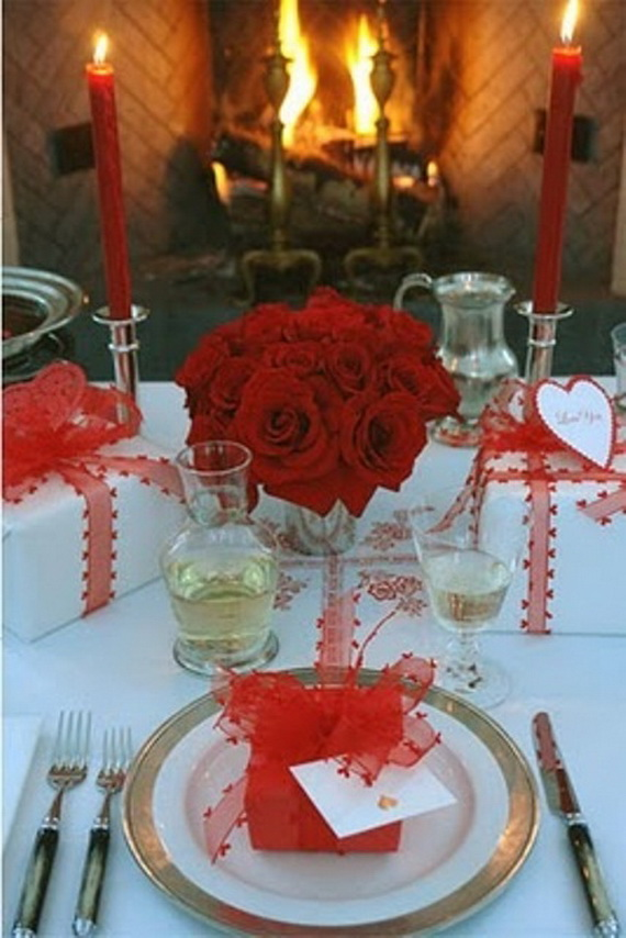 Valentine Table Decoration Ideas impressive dining table decorating ideas green leaves and fresh flowers Romantic Valentines Day Table Settings_19