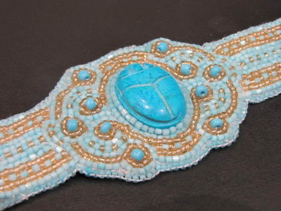 Egyptian jewelry -Bead Embroidered Egyptian Scarab _01