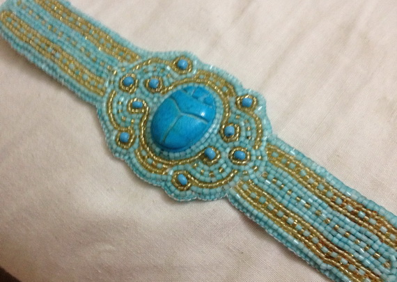 Egyptian jewelry -Bead Embroidered Egyptian Scarab _06