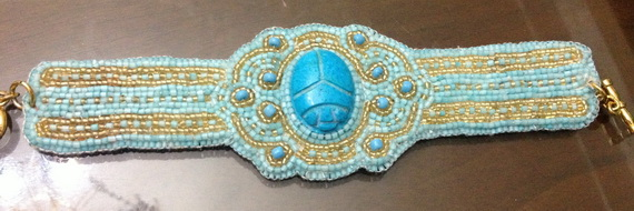 Egyptian jewelry -Bead Embroidered Egyptian Scarab _07