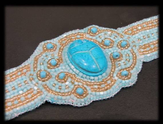 Egyptian jewelry -Bead Embroidered Egyptian Scarab _09