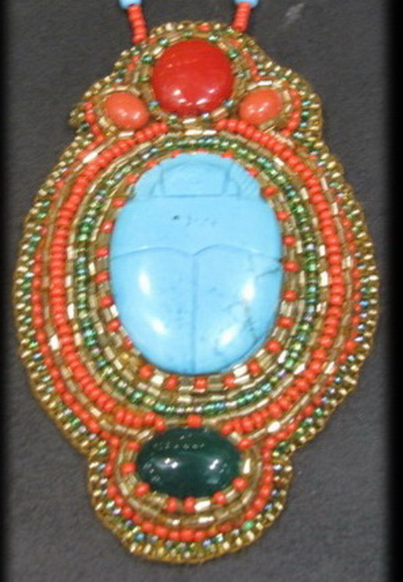 Egyptian jewelry -Bead Embroidered Egyptian Scarab _5