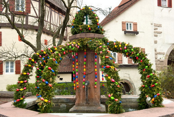 traditional german easter eggs outdoor decoration