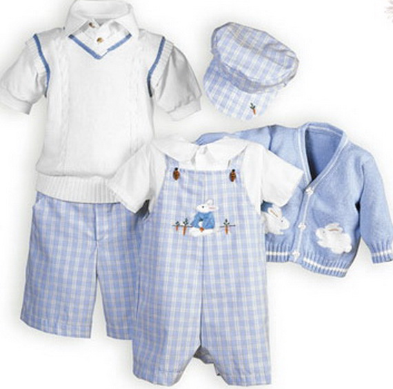 10 Adorable Matching Easter Outfits For The Whole Family All the kids can coordinate in these super-cute blue and khaki outfits from The Wooden Soldier Children's Clothing. Wooden Soldier. 7.