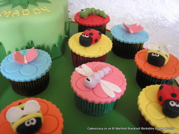 Bugs and insect sugar modelled cupcakes  dragonfly, bees, ladybirds