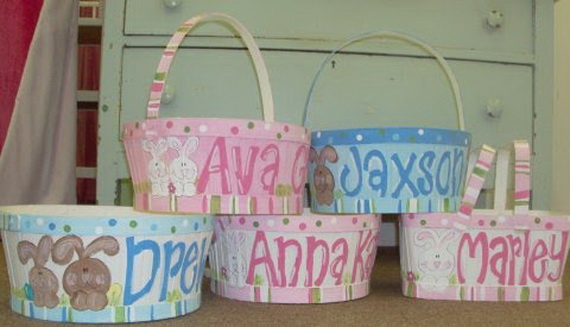 Personalized Hand Painted Girl Bunny Easter Basket Ideas - family ...