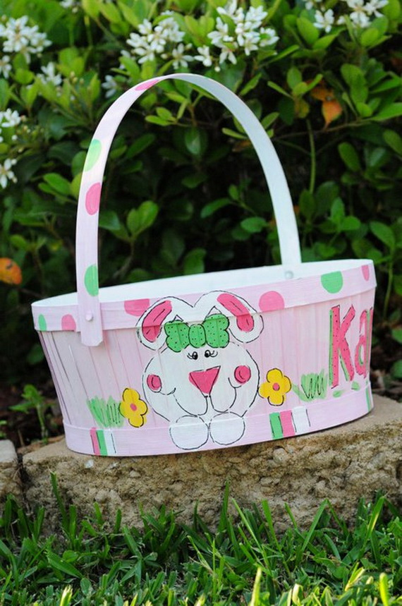 Personalized hand painted girl bunny easter basket ideas family personalized hand painted girl bunny easter basket ideas31 negle Image collections