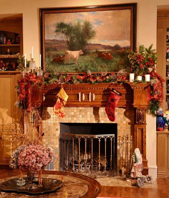 50 Gorgeous Christmas Holiday Mantel Decorating Ideas family